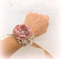 Bridal Wrist Corsage in Dusty Rose and Gold with Peals, Crystal and Lace- Vintage Essence by SolBijou on Etsy https://www.etsy.com/listing/213027960/bridal-wrist-corsage-in-dusty-rose-and
