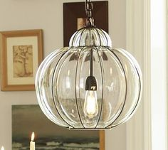 Entryway. Caged Glass Pendant #potterybarn