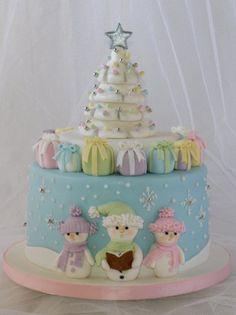 Singing Carols under the Christmas Tree - Cake by Marlene - CakeHeaven Christmas Themed Cake, Christmas Cake Designs, Christmas Cake Decorations, Christmas Sweets, Holiday Cakes, Noel Christmas, Christmas Baking, Christmas Cookies, Xmas Cakes