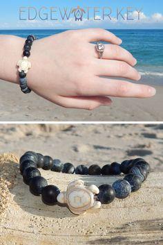 Deep Sea Stone Sea Turtle Bracelet   Gifts for Her   Gifts for Him   Jewelry for Her   Jewelry for Him