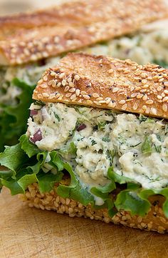 An Even Greater Tuna Salad Sandwich with Diced red onion, Celery and Fresh Dill
