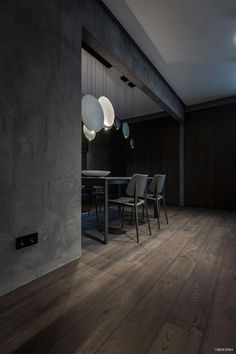 """This modern home interior is a project designed by YoDezeen, covers an area of sq. and is located in Kiev. """"One of our typical twilight interiors. Grey Interior Design, Industrial Interior Design, Modern Design, Apartment Interior, Home Interior, Grey Room, Luxurious Bedrooms, Black House, Living Room Designs"""