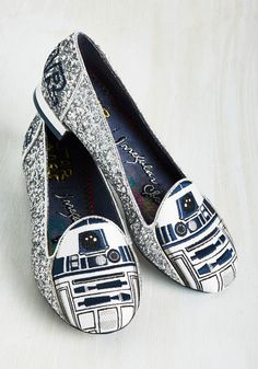Thank the Maker Flat in R2-D2 by Irregular Choice - Silver, Blue, Novelty Print, Embroidery, Glitter, Party, Statement, Quirky, Sci-fi, Nifty Nerd, Exceptional, Variation, Silver, Metallic, Low