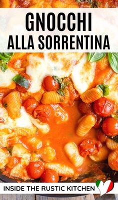 Gnocchi alla Sorrentina is an incredible Italian comfort food dish made with potato gnocchi is a rich tomato sauce with melted mozzarella. Perfect family dinner! #gnocchi Italian Pasta Recipes, Gnocchi Recipes, Italian Gnocchi, Baked Gnocchi, Making Gnocchi, Canning Diced Tomatoes, Tomato Sauce, Sauce Recipes, Food Dishes