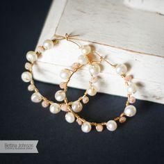 Freshwater Pearl 14k Gold Hoop Earrings