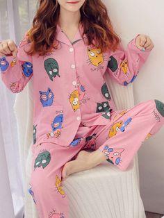 Cat Print Button Up Pajama SetFor Women-romwe Cute Pajama Sets, Cute Pajamas, Pink Silk Pajamas, Button Up Pajamas, Print Button, Romwe, Floral Tops, Fashion Ideas, Sleep