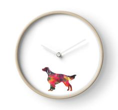 Irish Red and White Setter Dog Breed Colorful Geometric Pattern Silhouette – Multi primary colored • Also buy this artwork on stickers, apparel, phone cases, and more. Clock