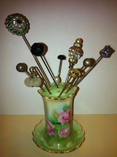 vintage hatpins with hand painted holder
