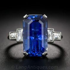 8.77 Carat Emerald-Cut Sapphire and Diamond Ring