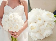 Bridal Bouquet. White Peonies- love that there is no green showing with flowers.