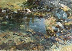 Alpine Pool, 1907  John Singer Sargent (American, 1856–1925).As he often did in his images of the brook at Purtud, Italy, Sargent adopted a close vantage point, ignored the horizon, and directed his gaze downward to the shimmering water and the rocks and foliage along its banks. The results are nearly abstract arrangements of form and color.