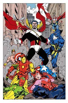 The Avengers vs Count Nefaria - John Byrne Marvel Dc, Marvel Comics Superheroes, Marvel Villains, Marvel Comic Universe, Marvel Films, Marvel Comic Books, Disney Marvel, Marvel Heroes, Comic Books Art