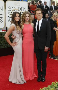 Miss Golden Globe Sosie Bacon with parents Kyra Sedgwick and Kevin Bacon