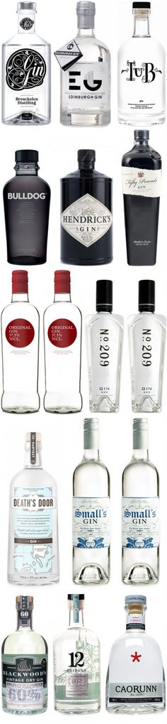 I'm gonna do a follow up on last friday's post on vodka bottles. During my research I found so many lovely booze bottles so I figured I might as well do another, this time it's top of the pops in the gin department.