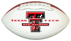 Texas Tech Red Raiders Official Size Synthetic Leather Autograph Football by GameMaster. $19.99. One Official Size Synthetic Leather Football with three white panels and one brown pebble panel.. Printed High Quality Official Texas Tech Red Raiders Logo on One White Panel. The three bright white panels allow plenty of space for autographs of your favorite players and coaches.. An excellent way to display your team spirit in any room or office.. NCAA Texas Tech Red Raiders Officia...