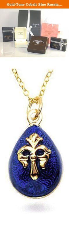 """Gold-Tone Cobalt Blue Russian Faberge Style Fleur De Lis Egg Pendant Necklace 18"""" Museum Style Jewelry. A gorgeous egg in vibrant cobalt blue enamel epoxy with a Fleur de lis design dangles from a delicate chain. Materials: egg is made of metal alloy with gold-tone finish and epoxy. Gold-tone brass chain length 18 Inch, spring ring closure. Egg measures 15mm by 10mm. Background History: The pendant is formed into an egg shape, inspired by Carl Faberge's creations. Imperial court jeweler…"""