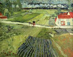 """""""Landscape with Carriage and Train"""" (1890) ~ Vincent van Gogh  ... droga do Głubczyc, moja obraz, dziękuję Ci, Panie."""