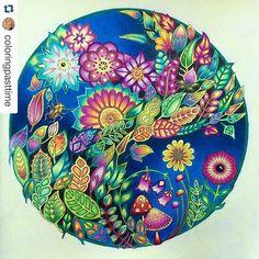 Que lindo! By @coloringpasttime  #florestaencantada  #desenhoscolorir #enchantedforestcoloringbook #enchantedforest #johannabasford #джоаннабэсфорд #зачарованныйлес #coloring #adultcoloringbook #mandala