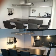 Modern kitchen before and after painting the wall. A small change made it look very different.
