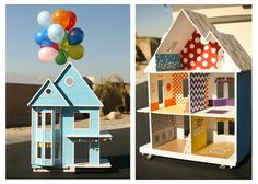 Doll House DIY - ideas for a house in Lydia's near future - love the homemade wallpaper!