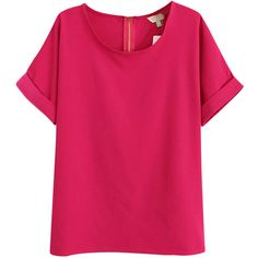Rose Red Charming Ladies Plain Crew Neck Short Sleeve T-shirt ($17) ❤ liked on Polyvore featuring tops, t-shirts, red tee, crew top, short sleeve crew neck tee, short sleeve tops and crewneck t shirt