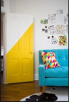 Diagonally half painted door