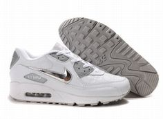 cheap for discount cbfae fe60f Ken Griffey Shoes Nike Air Max 90 White Grey Silver  Nike Air Max 90 -  Quite shiny silver Nike swooshes are on the two sides of the Nike Air Max  90 White ...