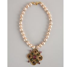 Chanel gold and faux pearl jeweled pendant vintage choker | BLUEFLY up to 70% off designer brands