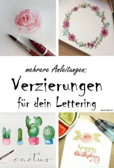 Embellishments for your lettering: banners, shadows, flowers & Co. - Decorate your lettering with flowers and banners and make it something special! Learn how to decora - Watercolor Letters, Watercolor Cactus, Bullet Journal Diy, Ornament Wreath, Ornaments, Dog Pen, Banner, Hand Lettering Tutorial, Diy Letters
