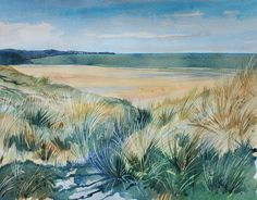 Coast watercolour painting, across to St Ives, Cornwall, Porth Kidney sands, Sand dunes, Cornish coast, cornwall seascape, cornish beach by PenstoneArt on Etsy
