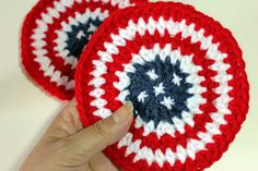 All Crafts Channel : #Crochet Coasters - 4th of July