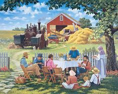 "John Sloane -- ""Our Daily Bread"" -- In the background of my scene, the threshing equipment is quiet for the moment, as the workers take a well-deserved dinner break. Young and old gather together in fellowship to share in the bounty of the land, made possible by their hard work in previous seasons."
