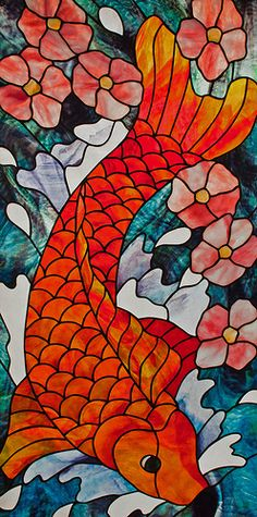 Koi Fish with Cherry Blossoms.  Stained glass panel. Made with Youghiogheney glass and Bullseye glass using the copper foil method of construction.