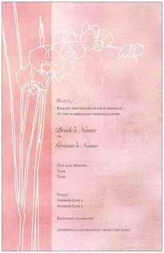 "Elegant Pink Horizontal Flat Invitations - 6""X9"", Orchid Horizontal Flat Invitations - 6""X9"" 