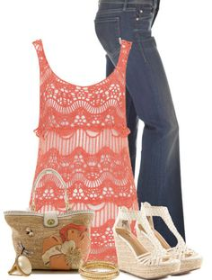Spring 2014 Fashion Trends   Sleeveless Crochet Tunic & Jeans - Spring Fashion Outfits for Women