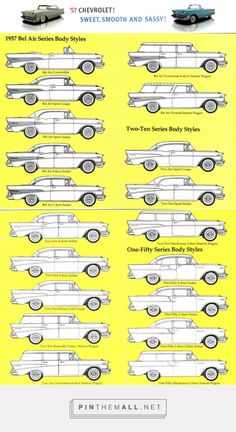 1957 Chevrolet Body Styles - See all the great 1957 Chevrolet Body Styles including sedans, hardtops, station wagon and convertibles. 1957 Chevy Bel Air, Chevrolet Bel Air, Chevrolet Trucks, Chevrolet Impala, Trailers, Automobile, Chevy Models, Chevy Muscle Cars, Classic Chevrolet