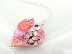 Necklace Heart Pendant Breast Cancer by DazzlingDezignz4U on Etsy, $43.00