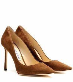 Jimmy Choo Khaki Brown Suede Romy 100 Pumps - Off Suede Leather Shoes, Suede Pumps, Pumps Heels, Stiletto Heels, Brown Pumps, Brown Shoe, Beautiful High Heels, Jimmy Choo Shoes, Fashion Heels