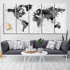 22710 - Large Wall Art World Map Canvas Print-  Watercolor World Map Travel Canvas Print- Modern XXL Large Wall Art World Map Canvas Print