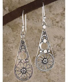 @Overstock - These handmade sterling silver filigree drop earrings are made by an eighth-generation silversmith Yemeni artist Ben Zion David. The lovely sterling silver jewelry pieces have been oxidized then polished for a n antique look. I just love the fair world trade section for jewelry on O.co. cute earrings!!