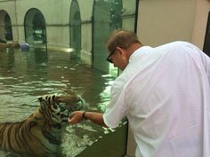 Les Miles and Mike the Tiger