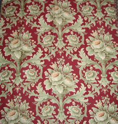 Gorgeous Antique French Barkcloth Cretonne Sewing Fabric Rich Red - Double Printed Great for Home Decorating - Found on Ruby Lane - $42.00