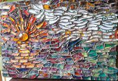Sol en mar. Mosaico con vidrios pintados. 33 cm x 22