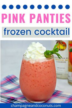 The Pink Panties Frozen Cocktail is perfect for sipping on a hot day! We love the delicious strawberry and peach flavors, especially when blended with vodka and rum. There's ice cream in the drink too, so it's kind of like a cross between a strawberrry peach milkshake and a slushie! It's so good! #frozendrinks #vodka #rum #strawberrydrinks #peachdrinks Strawberry Cocktails, Peach Drinks, Peach Vodka, Frozen Cocktails, Drinks With Vodka, Rum Cocktail Recipes, Frozen Drink Recipes, Cocktail And Mocktail, Summertime Drinks
