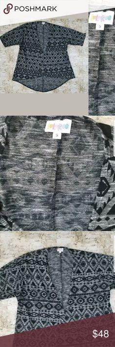 Lularoe Cover Up Black Gray Kimono Cover-up Sz8 S Up for sale Lularoe Cover Up Black Gray Kimono Cover-up Aztec Tribal Print   Size Small LuLaRoe Sweaters Cardigans