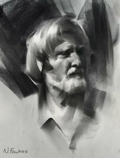 """Nathan Fowkes Art: :Head Drawing Demo"""" with compressed charcoal on rives lightweight paper September 2008"""