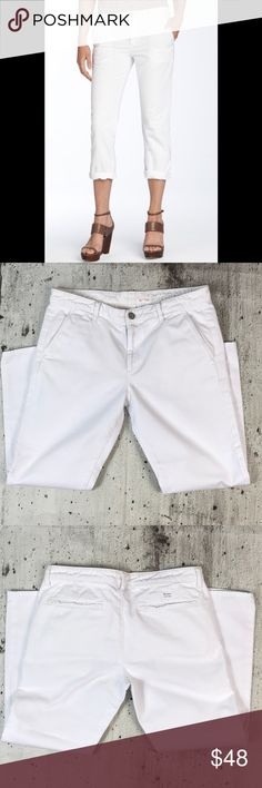 """Adriano Goldschmied the ex boyfriend khaki crop Adriano Goldschmied the ex boyfriend khaki crop suplm and cotton blend inseam 24"""" rise 9"""" Anthropologie Pants Ankle & Cropped"""
