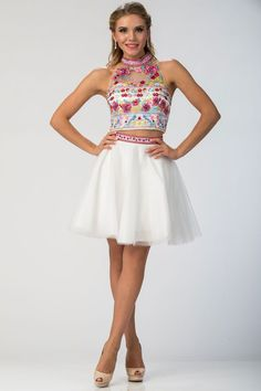 Two Piece Party Dress w/ Floral Embroidery