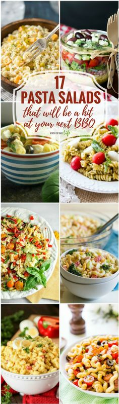 These 17 easy Pasta Salads are guaranteed to be a hit at your summer BBQs! Pasta | Salad | Pasta Salad | Side dishes | Recipes for parties | Summer BBQs https://www.adishofdailylife.com/2017/06/pasta-salads/