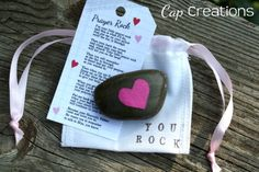 Retreat Craft.  Prayer Rock in an organza bag. Have kids add prayer.  Label bag PRAY. Teen Retreat. idea by Cap Creations